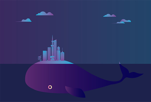 The city floats on the sea on the back of the whale