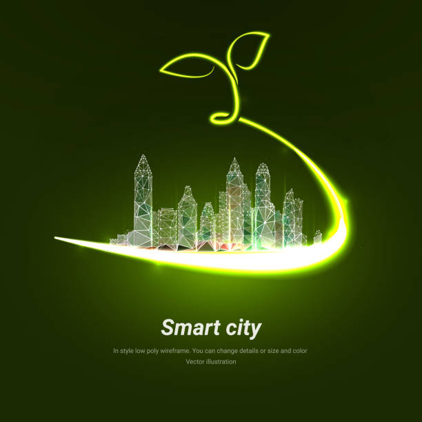 The city is wrapped in a neon ribbon with a sprout on top. Low poly wireframe isolated on green background. City greening. City landscaping technologies. Plexus lines and points in silhouette city The city is wrapped in a neon ribbon with a sprout on top. Low poly wireframe isolated on green background. City greening. City landscaping technologies. Plexus lines and points in silhouette city urban gardening stock illustrations