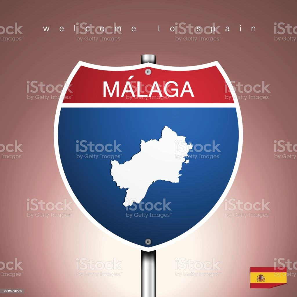 Map Of Spain To Label.The City Label And Map Of Spain In American Signs Style Stock