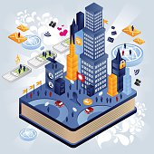 Over the book there is a huge and vibrant city, full of users, skyscrapers, cellphones and internet icons. Need some isometric characters and elements compatible with this illustration? Check out here.