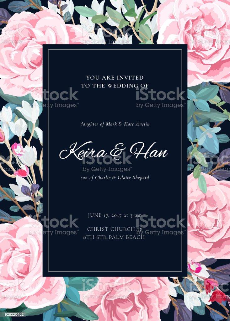 The classic design of a wedding invitation with a border of lowering the classic design of a wedding invitation with a border of lowering roses plants mightylinksfo