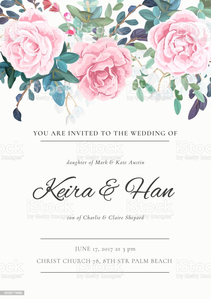 Pink Flower Invitation Card Wedding Invitation, Simple ... |Flower Border Designs For Wedding Cards