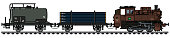 The vectorized hand drawing of a classic freight steam train