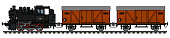 The vectorized hand drawing of a retro freight steam train