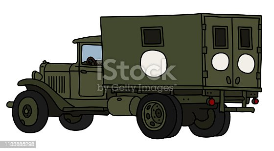 The vectorized hand drawing of an old military ambulance truck