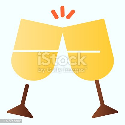 istock The clink glasses flat icon. Glassware vector illustration isolated on white. Champagne glasses gradient style design, designed for web and app. Eps 10. 1207745362