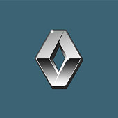 The close up vector of silver 3D Renault logo on blue background. Isolated