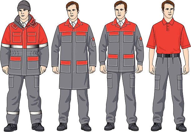 The clothes The clothes complete set consists of a jacket, trousers, a dressing gown, a T-shirt and a cap hot pockets stock illustrations
