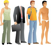 Male bodies and outfits.