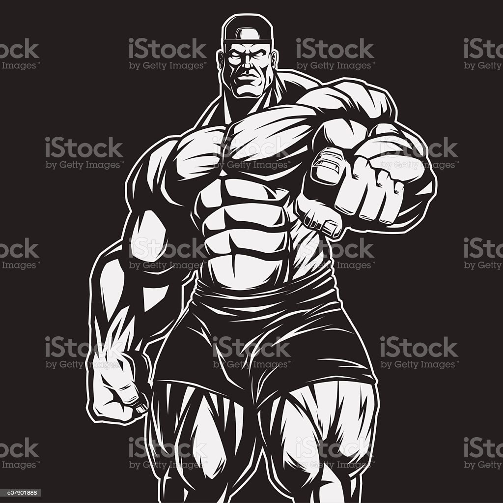 The coach of bodybuilding and fitness vector art illustration