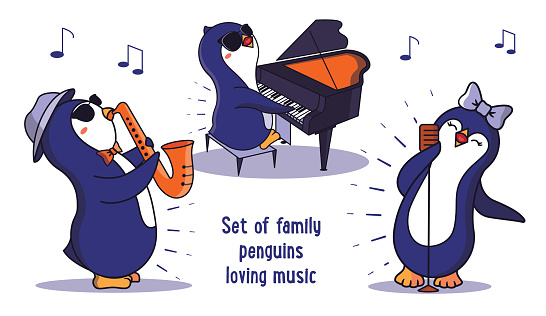 The collection of family animals loving music is good for World Music day designs.