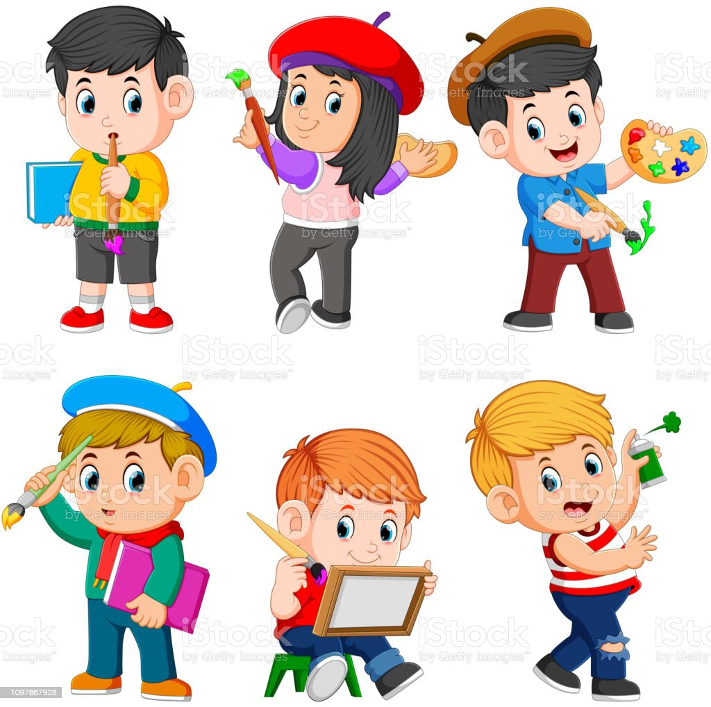 the collection of the children doing the paint vector art illustration