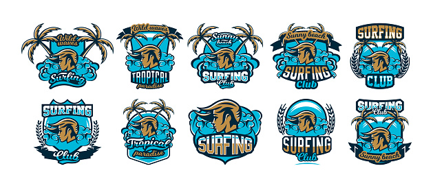 The collection, set, colorful emblems, icons, stickers, girl surfer, waves, beach, palm trees. Vector illustration, printing on T-shirts