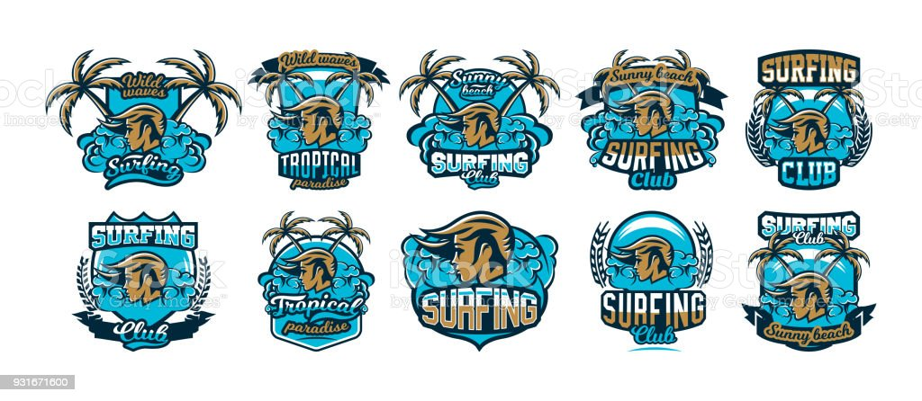 The collection, set, colorful emblems, icons, stickers, girl surfer, waves, beach, palm trees. Vector illustration, printing on T-shirts vector art illustration