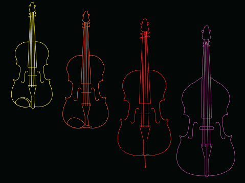The color mixed line illustration of stringed bowed instruments