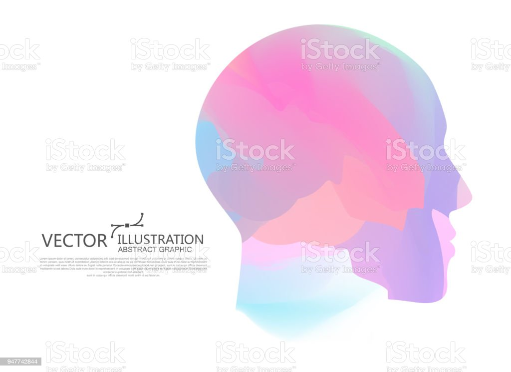 The color of the gradient is mixed into the shape of the male head, vector illustration. royalty-free the color of the gradient is mixed into the shape of the male head vector illustration stock illustration - download image now