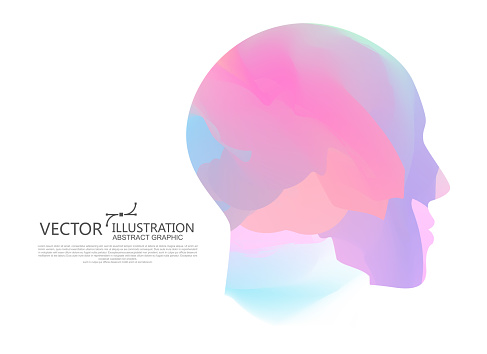 The Color Of The Gradient Is Mixed Into The Shape Of The Male Head Vector Illustration Stock Illustration - Download Image Now