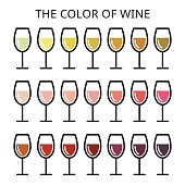 Vector icons set of wine glasses isolated on white