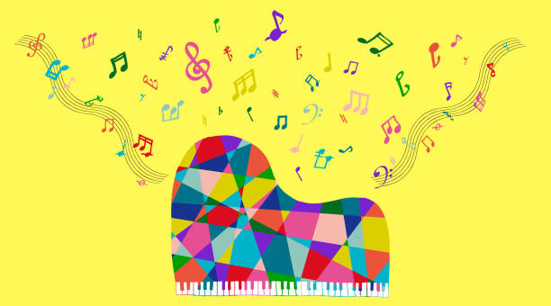 the colorful grand piano with some notes - harmonia instrument stock illustrations