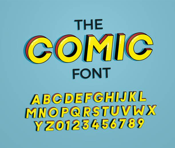 ilustrações de stock, clip art, desenhos animados e ícones de the comic font. vector illustration 3d design. letters and numbers design with super heroes comic book effect - músico popular