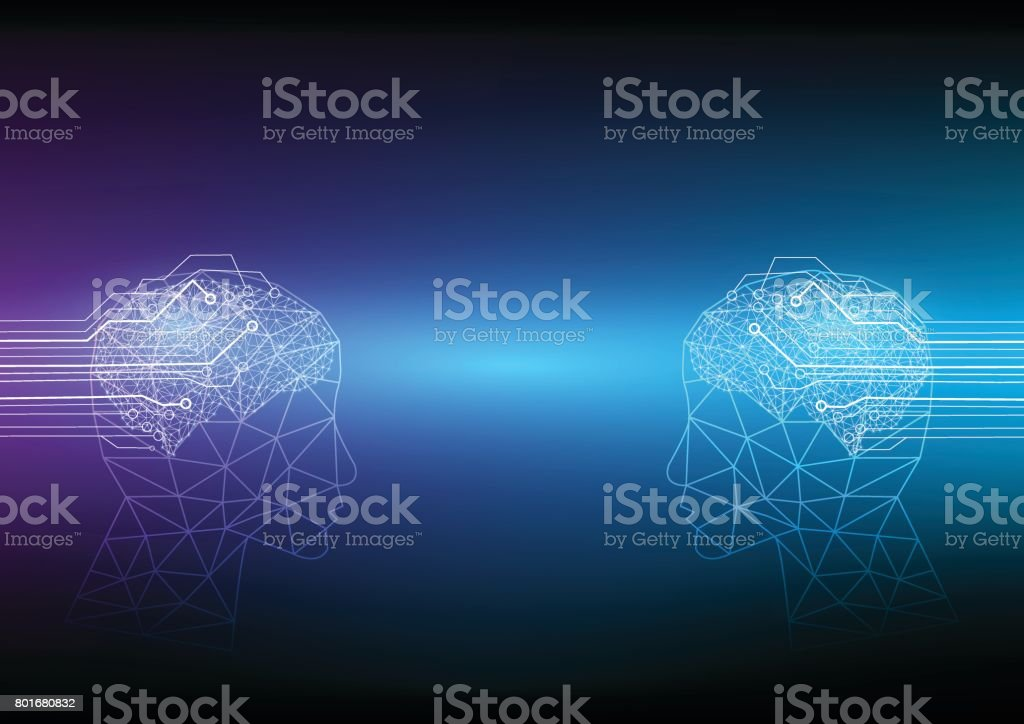 The communication between two sides of the Artificial Intelligence. vector art illustration