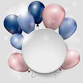 The composition of the balls on a white background with a place for an inscription. Festive banner. Greeting card. Golubyi and pink balloons