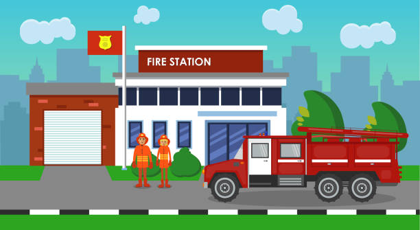 The composition of the fire truck and fire station. Vector illustration. The composition of the fire truck and fire station fire station stock illustrations