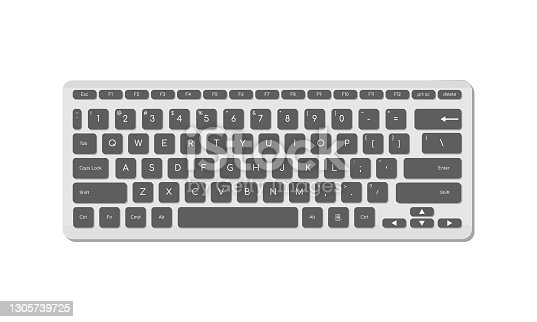 istock The computer keyboard is light with gray buttons and symbols. A modern image of a computer keyboard. Flat vector illustration 1305739725