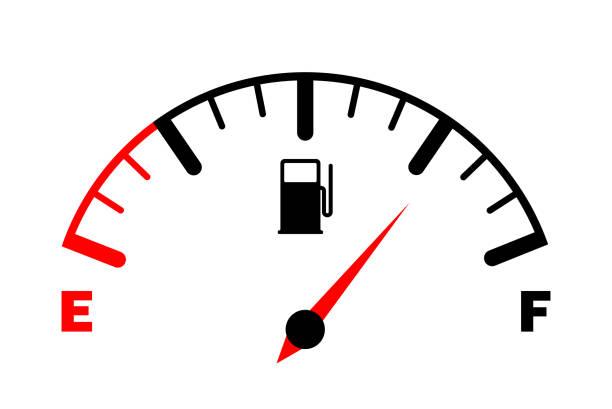 illustrazioni stock, clip art, cartoni animati e icone di tendenza di il concetto di indicatore del carburante, contatore del gas. sensore di carburante. cruscotto dell'auto. illustrazione vettoriale su sfondo bianco - combustibile fossile