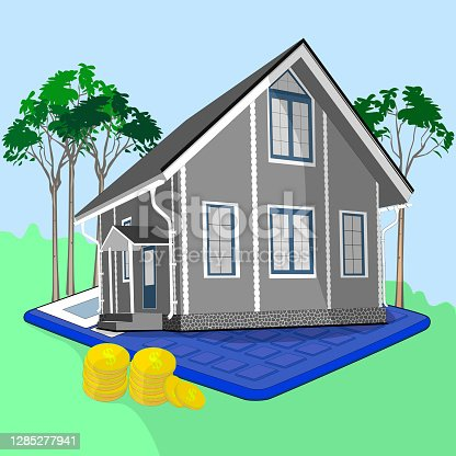 The concept of a mortgage. Mortgage loan or investment in real estate. Home. Money. Calculator. Vector