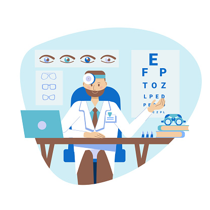 The concept of a young ophthalmologist. A practicing optometrist sits at a table in the hospital's medical office. Vector illustration in a flat style. Consultation and diagnostics.