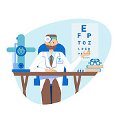 The concept of a young ophthalmologist, a practicing optometrist sits at a table in the medical office of a hospital. Vector illustration in a flat style. Consultation and diagnosis of vision.