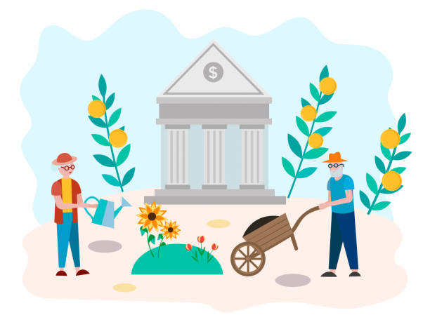ilustrações de stock, clip art, desenhos animados e ícones de the concept of accumulation of pension savings, well-being in old age, the bank's assistance to pensioners. - enjoying wealthy life