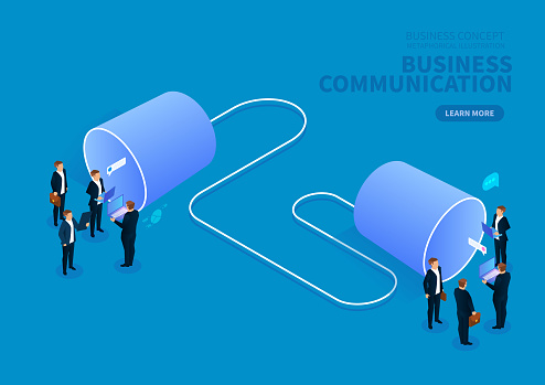 The concept of business communication, two groups of businessmen talk with tin can