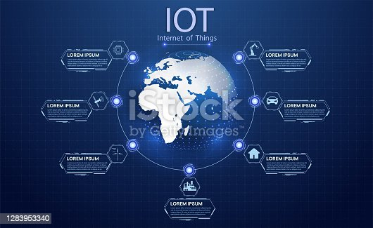 istock The concept of connecting devices using IOT technology. ICT (Information Communication Technology)  IoT and cryptocurrencies, fintech concept, composition with planet. Communication network concept 1283953340