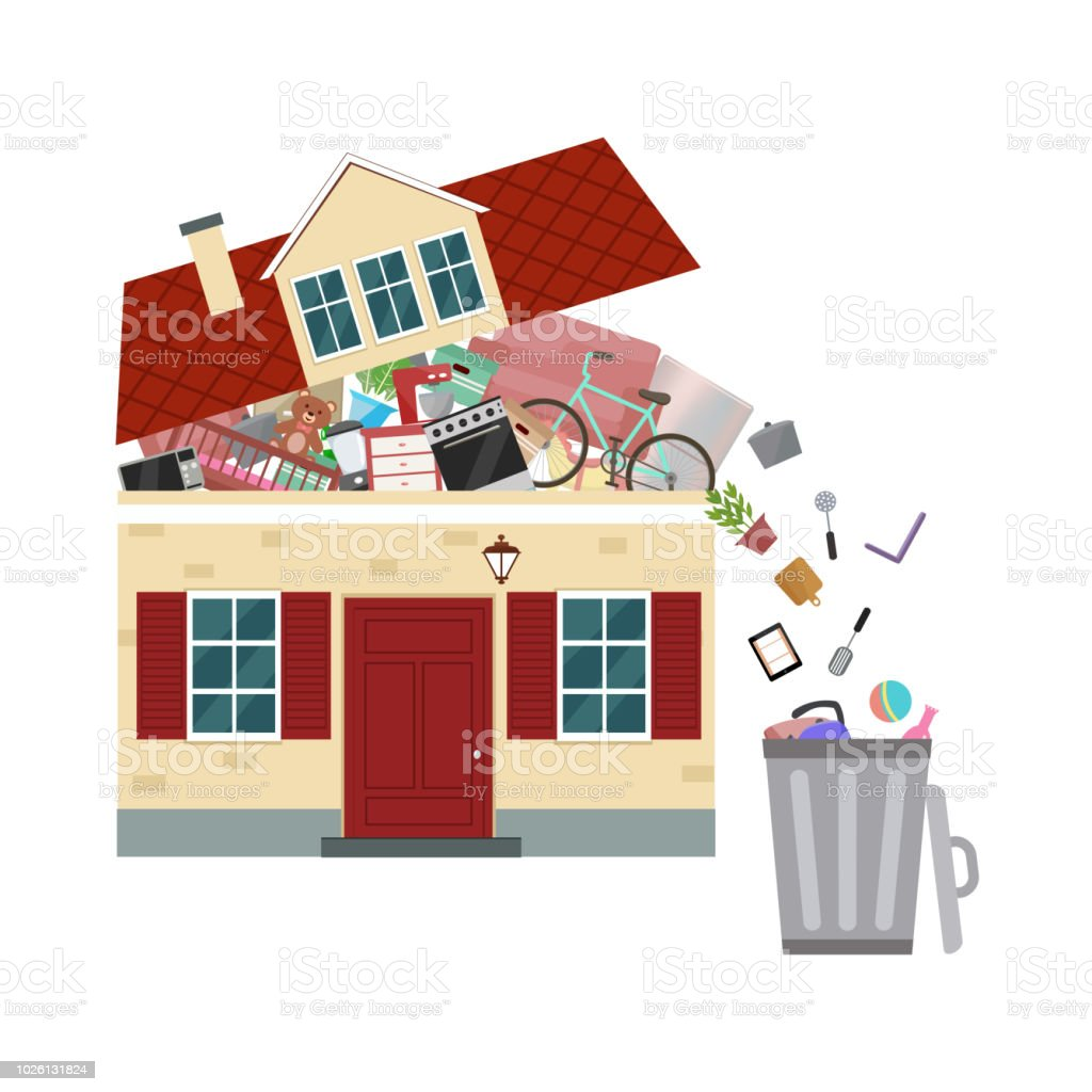 The concept of excessive consumerism. House bursting of stuff. Throwing away things from house. vector art illustration