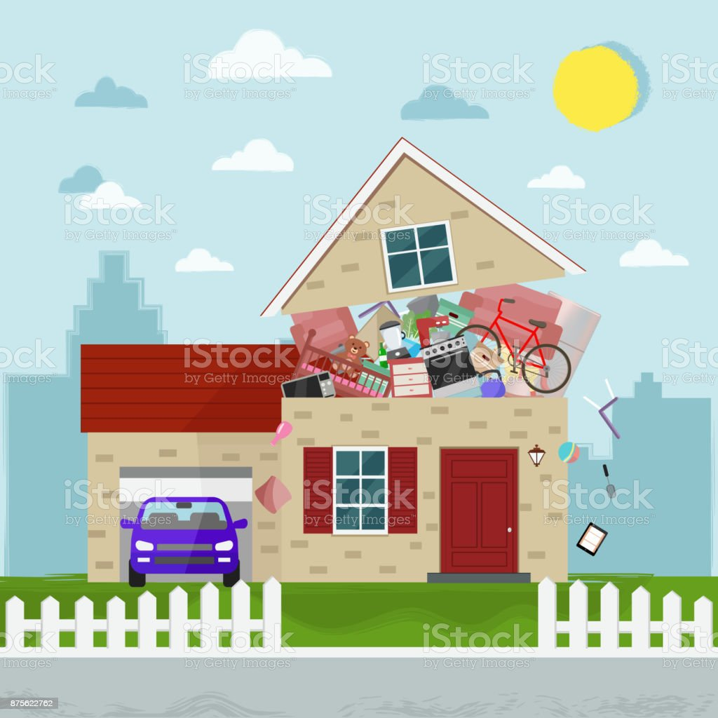 The concept of excessive consumption. House bursting of stuff. vector art illustration