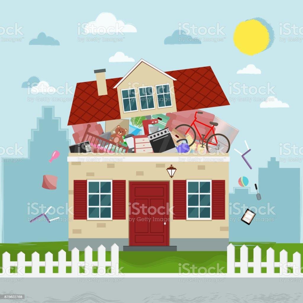 Das Konzept Der übermäßige Konsum Haus Platzen Der Sachen Stock ...