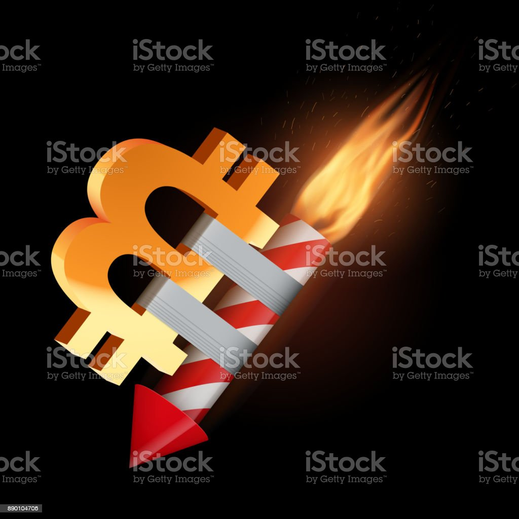 The concept of falling bitcoin vector art illustration