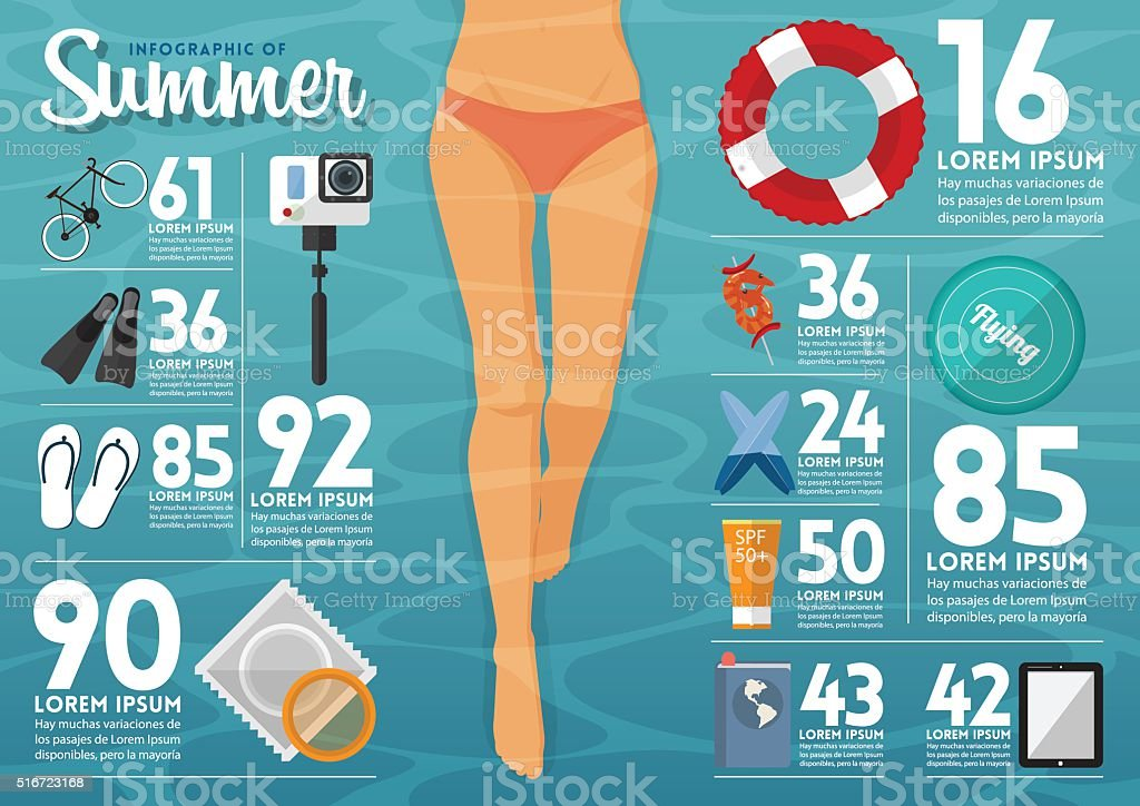 The concept of infographics for summer  travel planning. Vector. vector art illustration