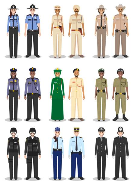 The concept of international police. Set of different detailed illustrations of sheriff, gendarme and policewoman and policeman in a flat style on white background. Vector illustration. Detailed illustrations of police different countries in a flat style on white background: sheriff, SWAT officer, policewoman and policeman. military uniform stock illustrations