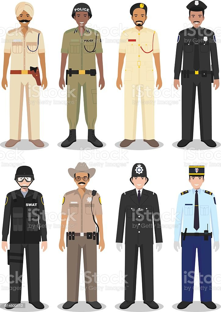 The concept of international police: sheriff, gendarme and policeman. vector art illustration