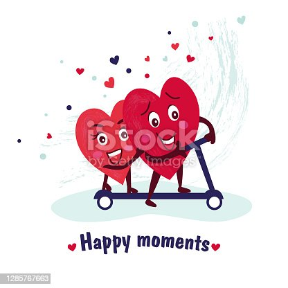 istock The concept of love. Cute characters of a couple of loving hearts ride a scooter. Happy moments in our lives 1285767663
