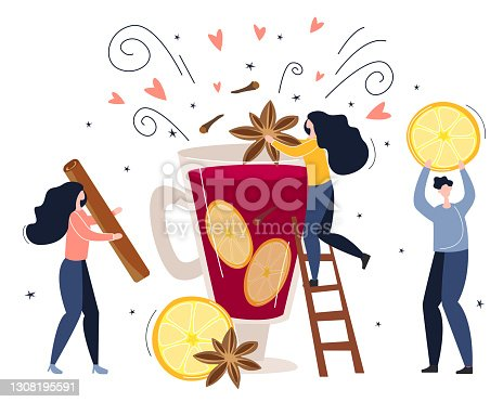 istock the concept of making a hot drink, mulled wine. little people make a drink from lemon, cinnamon and spices. vector illustration in flat style 1308195591