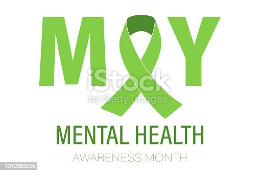 istock The concept of Mental Health Awareness Month. Simple flat-style typography design, vector 1312083255