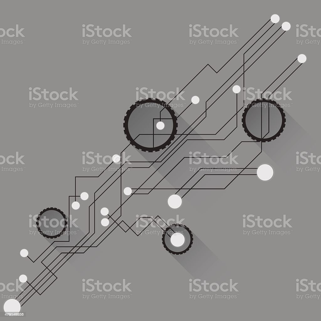 The concept of network and computer circuit chip vector art illustration