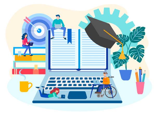 illustrazioni stock, clip art, cartoni animati e icone di tendenza di the concept of online education, team work, workshops and online training. - didattica a distanza