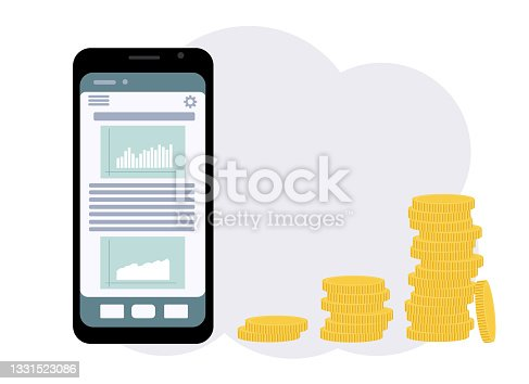 istock The concept of online gaming on the stock exchange. Phone with graphs and a bunch of coins next to it 1331523086