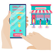 The concept of online shopping. No queue. Order products online using the app on your smartphone. Ordering food at home. Purchase of products via the Internet. Vector illustration in flat style.