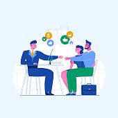 The concept of personal loans, credit department. A family couple shakes hands with an agent. Illustration of credit approval or conclusion of the contract. Vector flat illustration.